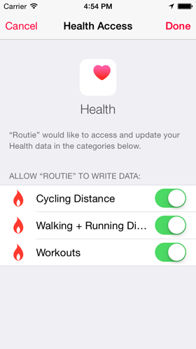 Health app screenshot