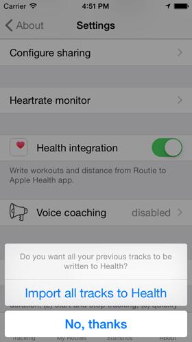 Routie Health export screenshot